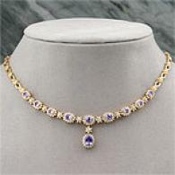 14k Gold 6.29 Cttw. Tanzanite & Diamond Necklace