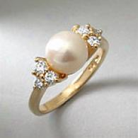 14k Gold 8.5mm Cultured Akoya Pearl & Diamond Ring
