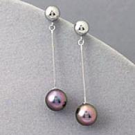 14k Gold 8mm Black Akoya Pearl Earrings
