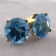 14k Gold Blue Topaz Post Earrings