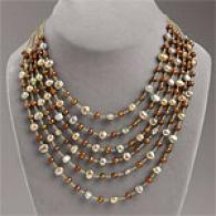 14k Gold Chocolate & Golden Pearl Layer Necklace