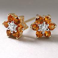 14k Gold Citrine & Diamond Flower Earrings