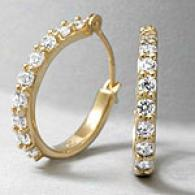 14k Gold & Cubic Zirconia Petite Hoop Earrings