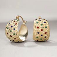 14k Gold Enamel Dot Hoop Earrings