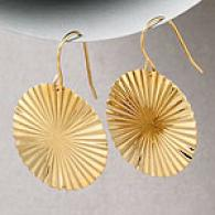 14k Gold Fanned Circle Dangle Earrings