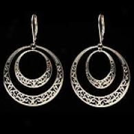 14k Gold Filigree Double Circle Dangle Earrings
