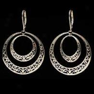 14k Gold Filigree Double Circle Dangle Earrings