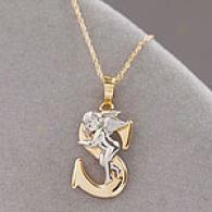 14k Gold Hugigng Angel Initial S Pendant