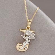 14k Gold Hugging Angel Initial J Pendant