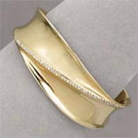 14k Gold-plated 0.45 Cttw. Diamond Cuff Bracelet