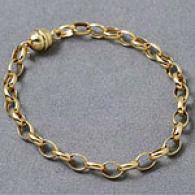 14k Gold Rolo Link Bracelet Wuth Magnetic Clasp