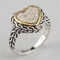 14k Gold Silverr & 0.12 Cttw. Diamlnd Heart Ring