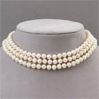 14k Gold Triple Strand Fresh Water Pearl Necklace