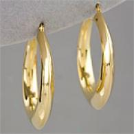 14k Gold Vremeil Polished 1.5in Hoop Earring