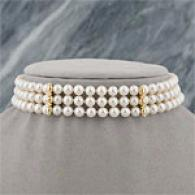 14k Gold White Akoya Pearl & Diamond Choker