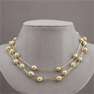 14k Golden South Sea Pearl Station Stratum Necklace