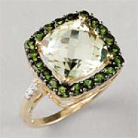 14k Green Quartz, Green Tourmaline & Diamond Ring