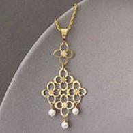 14k Marquise Flower & Pearl Chandelier Pendant