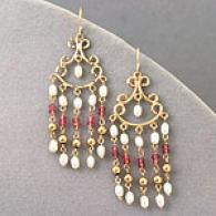 14k Pearl & Pink Tourmaline Cuandelier Earrings