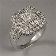 14k Princess & Round-cut 1.54 Cttw. Diamond Ring
