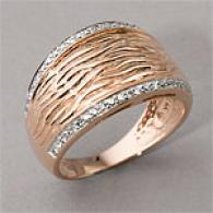 14k R0se Gold 0.24cttw. Diamond Textured Dome Ring