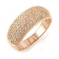 14k Rose Gold 0.50 Cttw Pave Diamond Ring