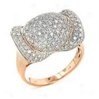 14k Rose Gold 1.00 Cttw. Pave Diamond Ring