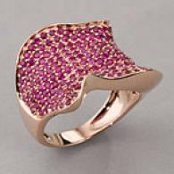 14k Rose Gold 2.58 Cttw. Ruby Pave Wave Style Ring