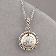 14k & Silver 0.12 Cttw. Diamond Circle Pendant