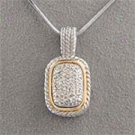 14k & Silver 0.25 Cttw. Diamond Pave Pendant