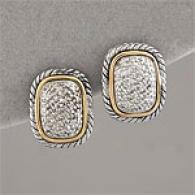 14k & Silver 0.26 Cttw. Diamond Pave Earring