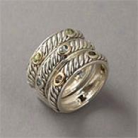 14k & Silver 1.20 Cttw. Gemstkne Stack Ring
