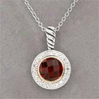 14k & Silver 2.10 Cttw. Garnet & Diamond Pendant