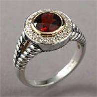 14k & Silver 2.10 Cttw. Garnet & Diamond Ring