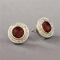 14k & Silver 2.68 Cttw. Garnst & Diamond Earring