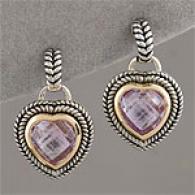14k & White 2.9Octtw. Pink Amethyst Heart Earring
