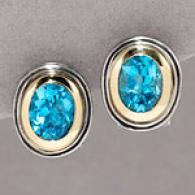 14k & Silver 6.40 Cttw. Blue Topaz Earring