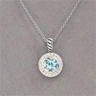 14k & Silvery Blue Topaz & Diamond Pendant