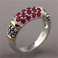 14k & Silver Pave 0.86 Cttw. Ruby Ring