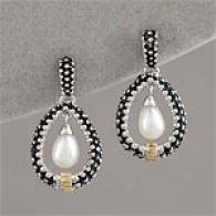 14k, Silver & White Freshwater Pearl Drop Earring