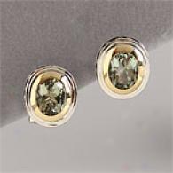 14k & Sterling 5.00 Cttw. Green Amethyst Earrings