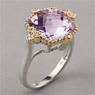 14k & Sterling 5.66 Cttw. Amethyst & Diamond Ring