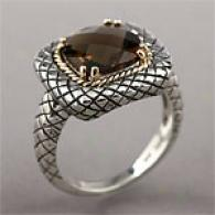 14k & Sterling Silver 3.50 Cttw. Smoky Quartz Ring