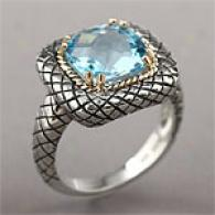 14k & Sterling Silver 4.00 Cttw. Blue Topaz Ring