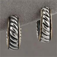 14k &  Sterling Silver Gold Huggie Hoop Earring