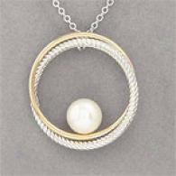 14k & Sterling Silver & PearlC able Circle Pendant