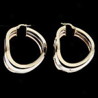 14k Tri-color Gold Wave Hoop Earrings