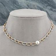 14k Tri Gold South Sea & Diamond Link Necklace