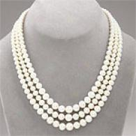 14k Triple Strand Graduated Pearl Necklace
