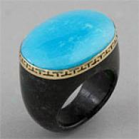 14k Turqouise & Charcoal Jade Ring